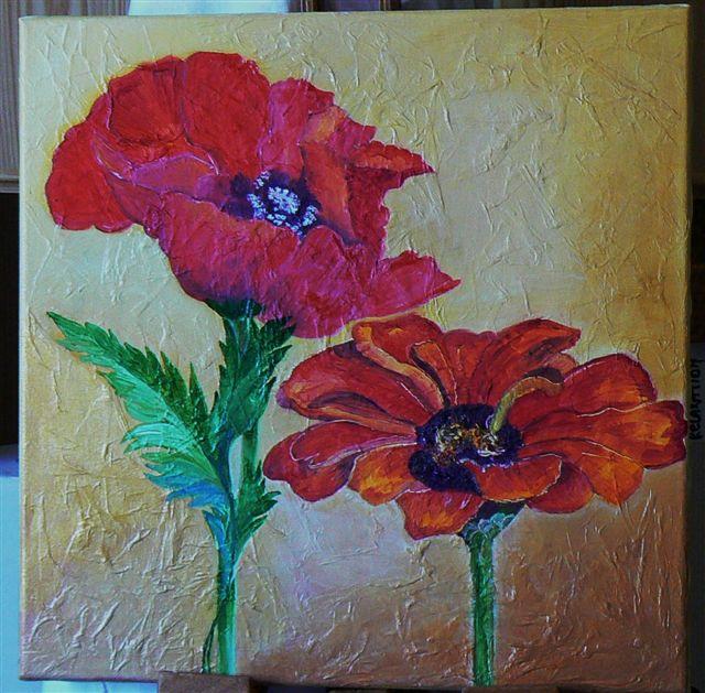 Coquelicot flamboyant huile et papier de soie - Papier pour peinture huile ...